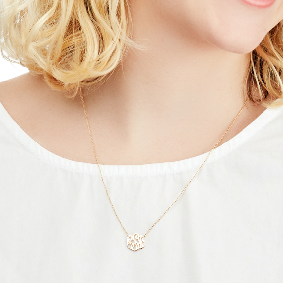 Moon and Lola - handcut mini cheshire metal monogram necklace