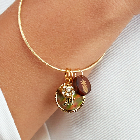 Moon and Lola - Nora Bangle with Dalton Initial Charm Rhinestone Ball Charm and Acrylic PIneapple Charm