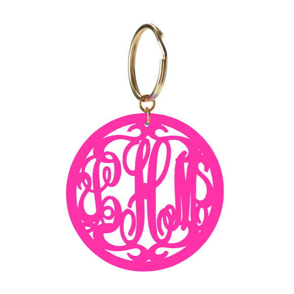 moon and lola rimmed script monogram keychain in hot pink