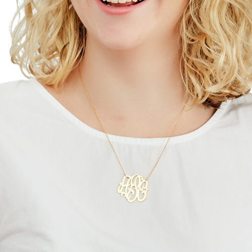 Moon and Lola - Cheshire Metal Monogram Necklace