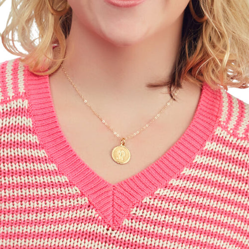 Moon and Lola - Small Metal Dalton Necklace on standard length apex chain