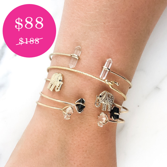 Moon and Lola - Crystal Elephant Cuff Stack Combination