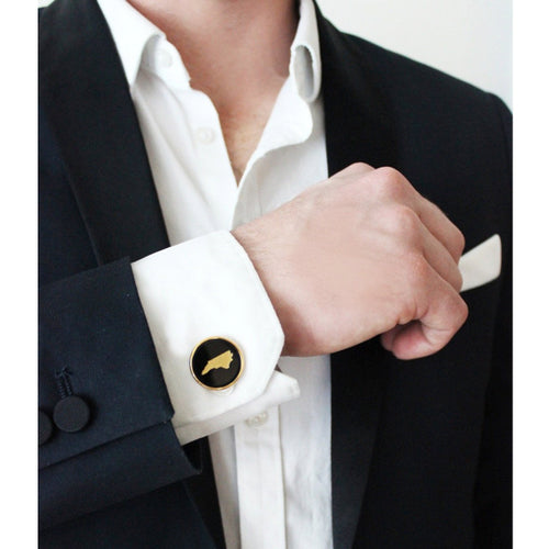I found this at #moonandlola! - State Round Cuff Links on model
