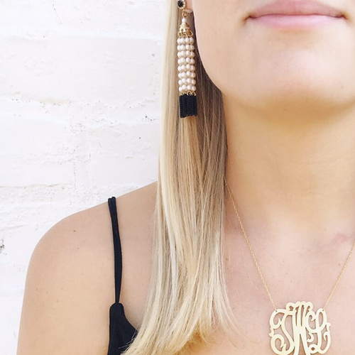 I found this at #moonandlola - Thasos Earrings & Metal Cheshire Monogram Necklace