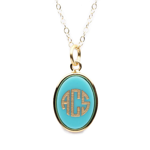 Moon and Lola- - Vineyard Oval Monogram Pendant on Apex Chain