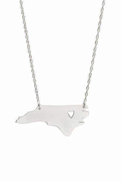 Sterling Silver Metal State Necklace With Heart - #moonandlola