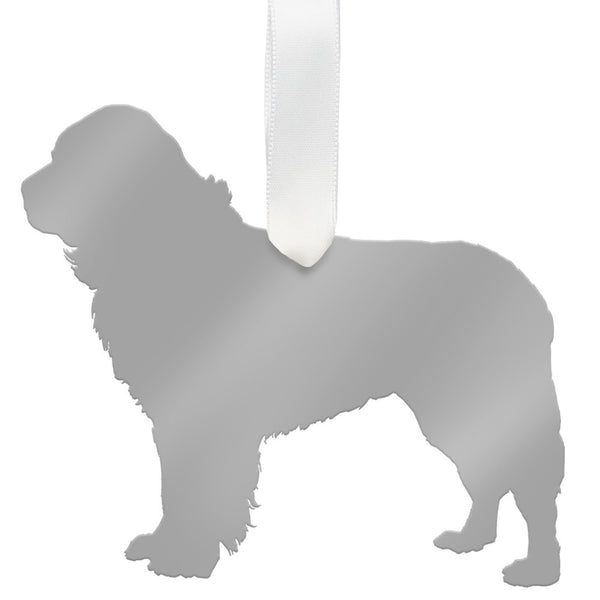 Moon and Lola - Newfoundland Ornament Mirrored Silver