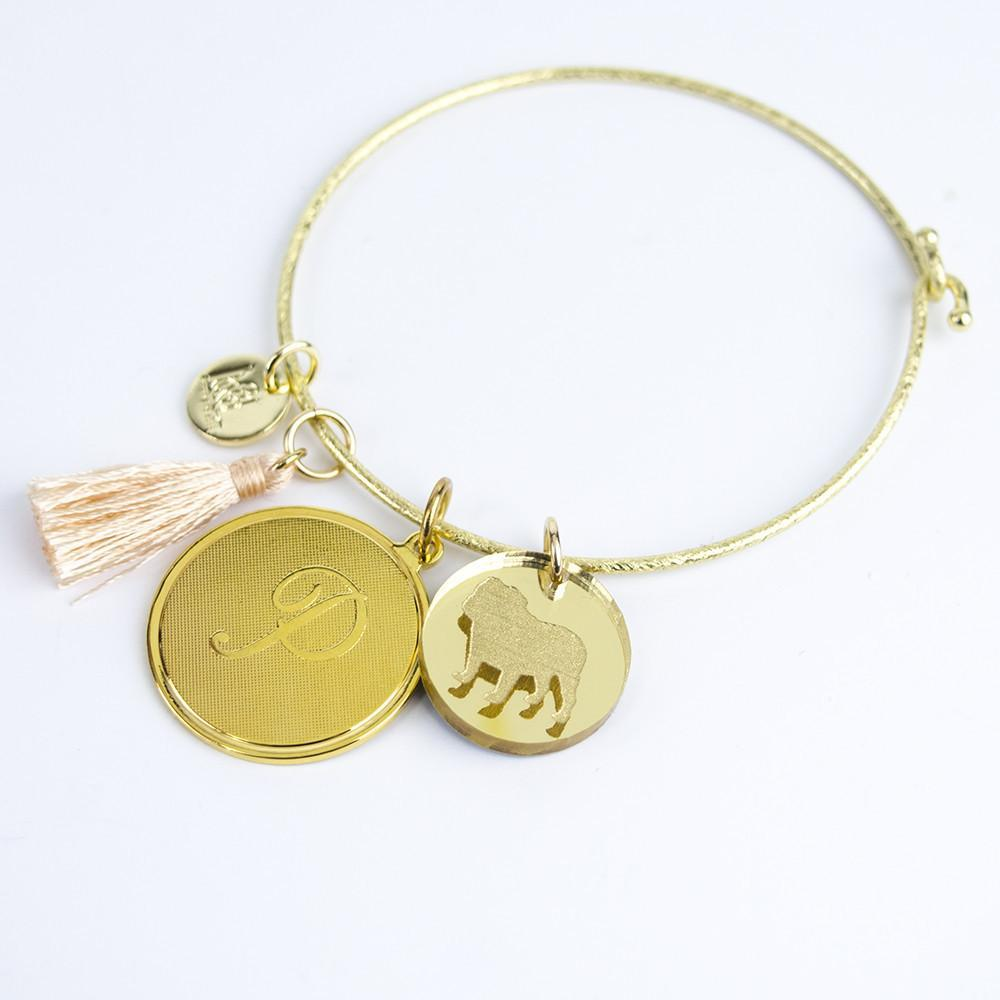 Moon and Lola - Nora Bangle with tassel charm, metal single letter charm and acrylic pet charm