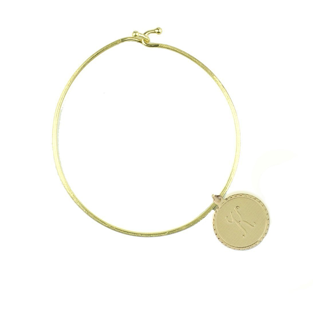 Moon and Lola - Nora Bangle with Metal Dalton Initial Charm