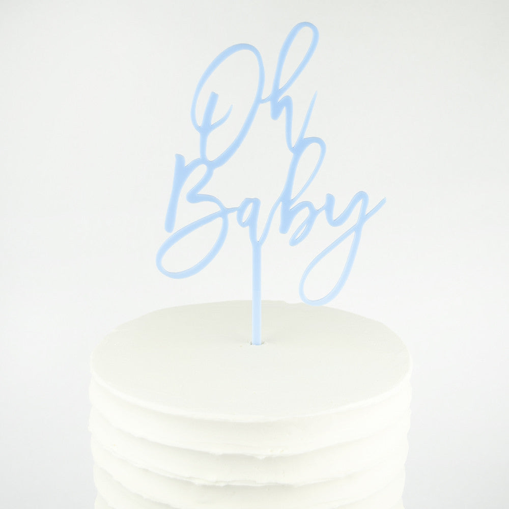 I found this at #moonandlola! - Oh Baby Cake Topper on Cake Close Up in Carolina Blue