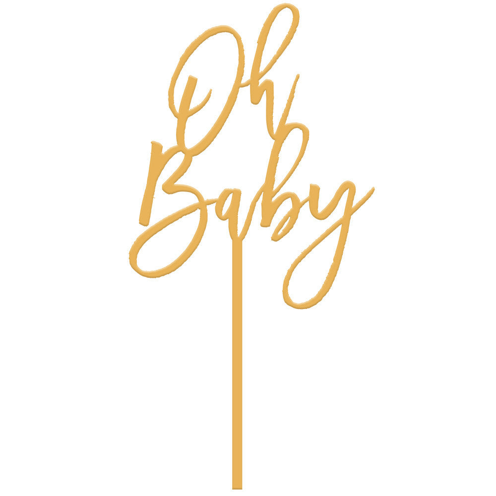 I found this at #moonandlola! - Oh Baby Cake Topper in Antique Gold