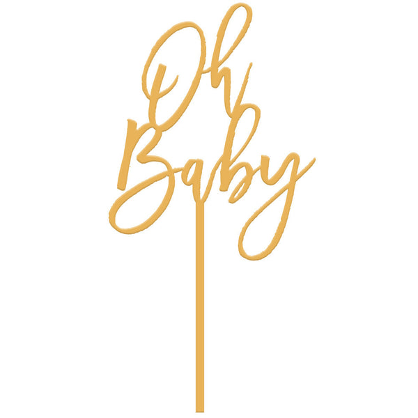 Moon and Lola - Oh Baby Cake Topper in Antique Gold