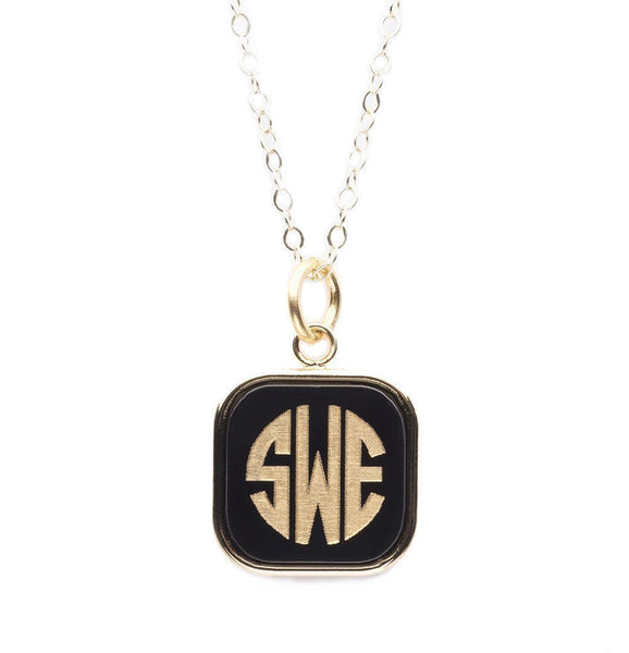 Moon and Lola - Vineyard Square Monogram Necklace Ebony