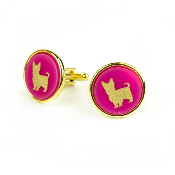 Moon and Lola - Pet Round Cuff Links Yorkie
