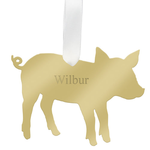 I found this at #moonandlola! - Personalized Pig Ornament Mirrored Gold