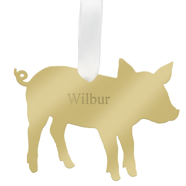 Moon and Lola - Personalized Pig Ornament Mirrored Gold