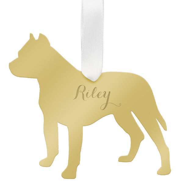 Moon and Lola - Personalized Pitbull Ornament Mirrored Gold