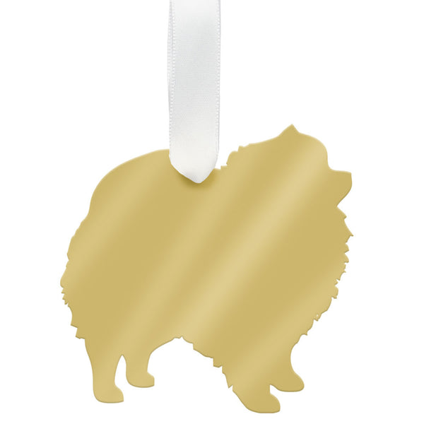 Moon and Lola - Pomeranian Ornament Mirrored Gold
