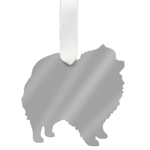 Moon and Lola - Pomeranian Ornament Mirrored Silver