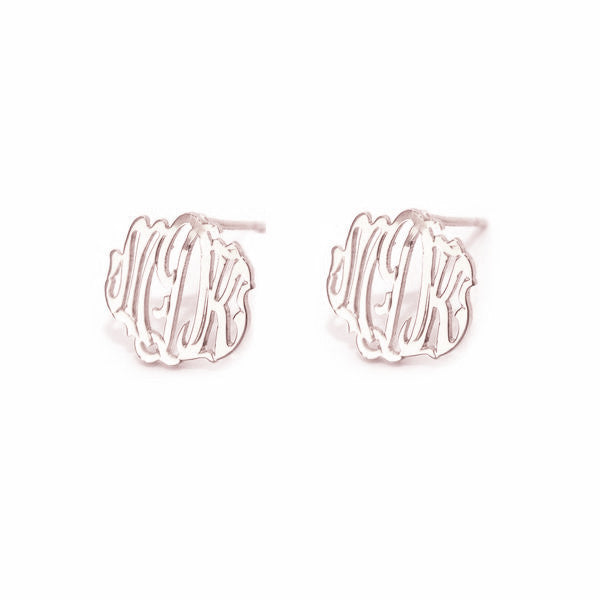 Rose Gold Monogram Post Earrings Script Font - #moonandlola