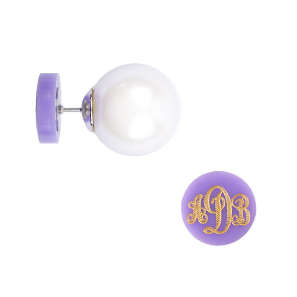 Moon and Lola - Providence Script 360 Pearl Studs