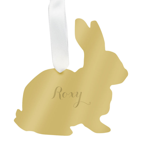 Moon and Lola - Personalized Rabbit Ornament Mirrored Gold