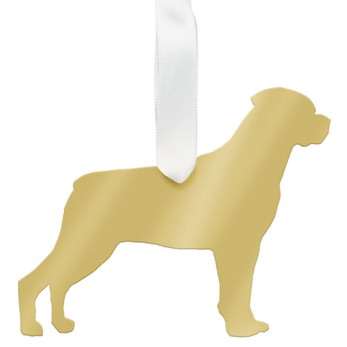 I found this at #moonandlola! - Rottweiler Ornament Mirrored Gold