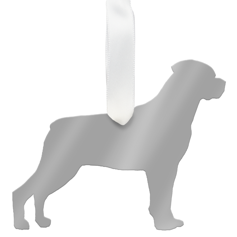 I found this at #moonandlola! - Rottweiler Ornament Mirrored Silver