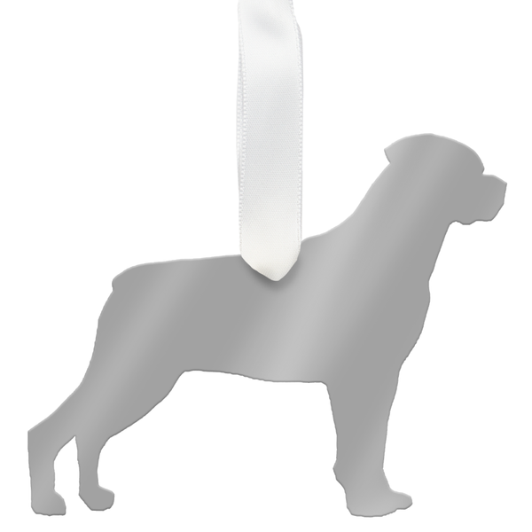 Moon and Lola - Rottweiler Ornament Mirrored Silver