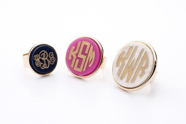 I found this at #moonandlola! - Vineyard Round Monogram Ring Sizes