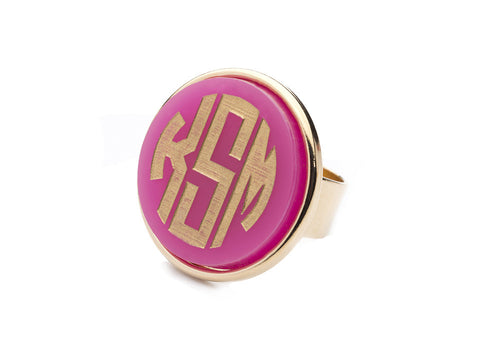 I found this at #moonandlola! - Vineyard Round Monogram Ring Hot Pink Gold