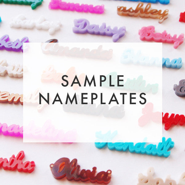 I found this at #moonandlola! - Sample Nameplate Necklaces