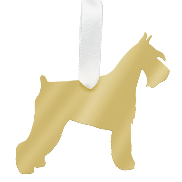 Moon and Lola - Miniature Schnauzer Ornament Mirrored Gold