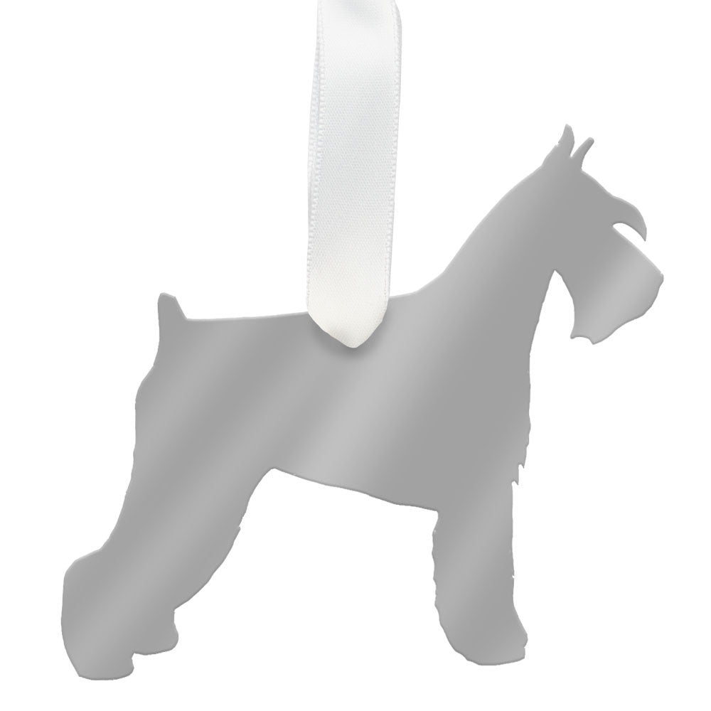 I found this at #moonandlola! - Miniature Schnauzer Ornament Mirrored Silver