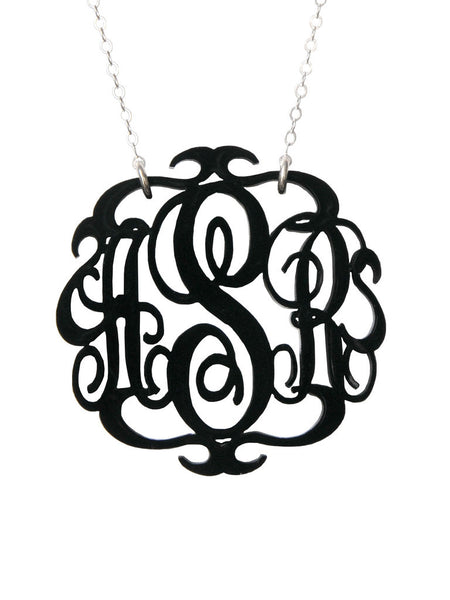 Moon and Lola - Script Monogram Necklace Ebony