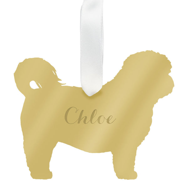 Moon and Lola - Personalized Shih-Tzu Ornament Mirrored Gold