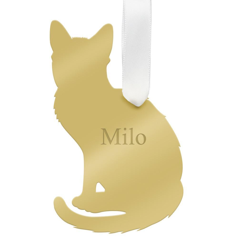 Moon and Lola - Personalized Pet Ornament short-haired cat with engraved pet name