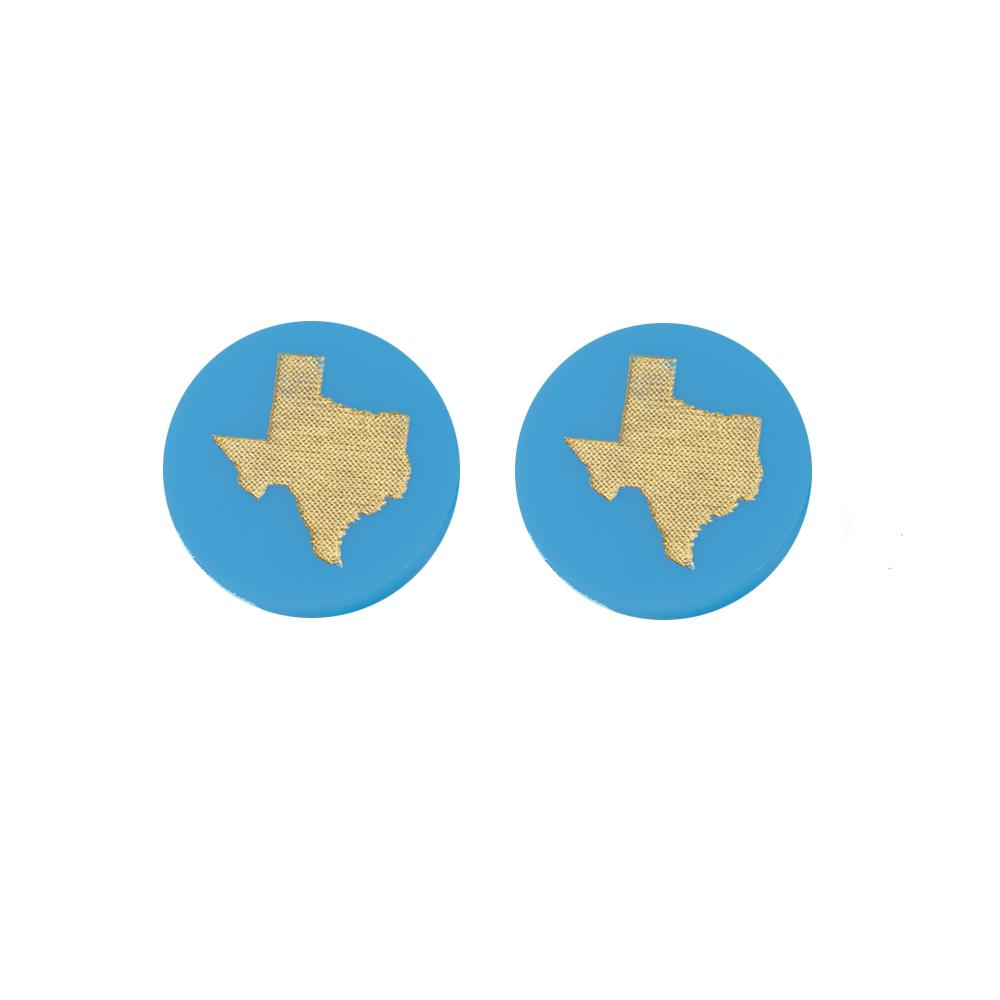 Moon and Lola Turquoise Acrylic Texas State Stud Earrings