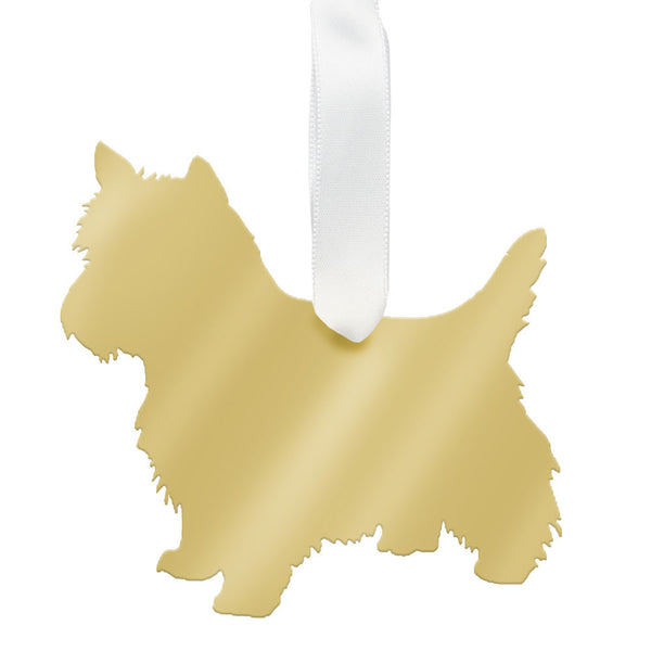 Moon and Lola - West Highland White Terrier Ornament Mirrored Gold