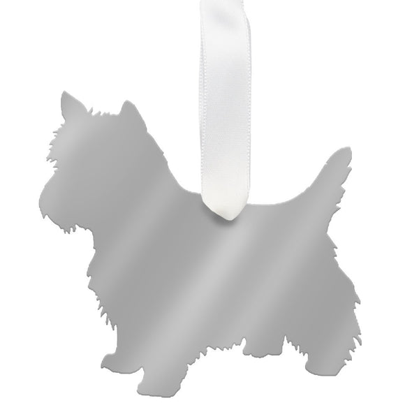 I found this at #moonandlola! - West Highland White Terrier Ornament Mirrored Silver