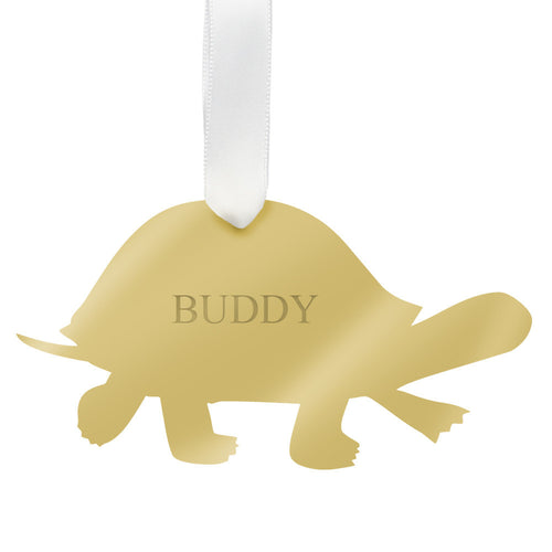 I found this at #moonandlola! - Personalized Turtle Ornament Mirrored Gold
