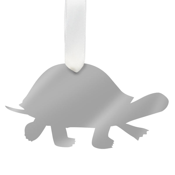 Moon and Lola - Turtle Ornament Mirrored Silver