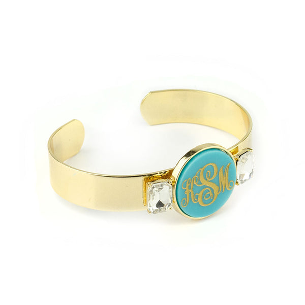 Moon and Lola - Valla Monogram Cuff Bracelet side view