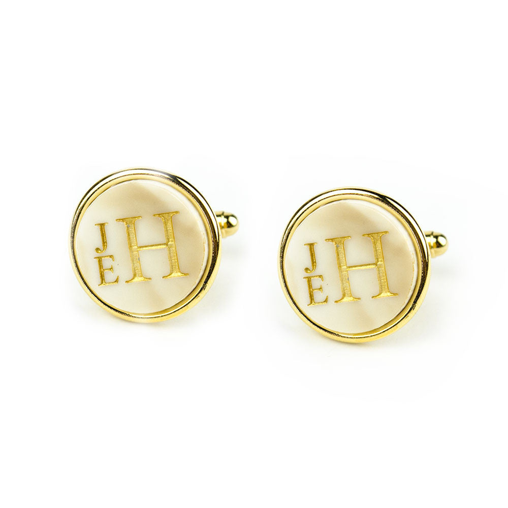 Moon and Lola - Vineyard Cuff Links Round Stacked Monogram