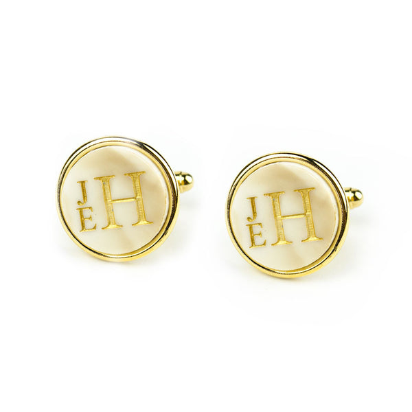 I found this at #moonandlola! - Stacked Monogram Round Cuff Links