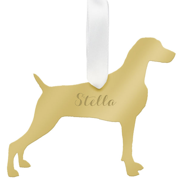 I found this at #moonandlola! - Personalized Weimaraner Ornament Mirrored Gold
