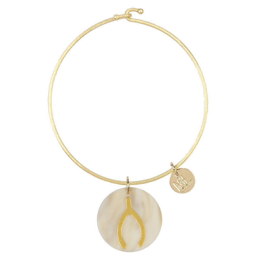 I found this at #moonandlola! - Eden Wishbone Charm Bangle