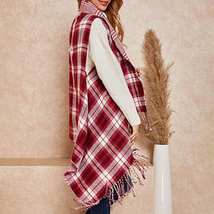 Red & White Plaid Fringe Ruana - Clothing -Ruana - LUXXC