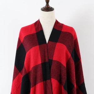 Plaid Poncho Scarf With Fringe - Clothing - Poncho - LUXXC
