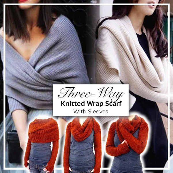 Multiway Knitted Wrap Scarf With Sleeves - Accessory - Scarf - LUXXC